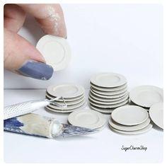 Dolls House Miniature White Ceramic Butter Dish Cheese Dish