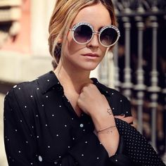 A serial sunglasses obsessive, @blancamiro has about 90 pairs in her collection—her favourites are oversized and 70s in style, just like the GOTHA glitter rimmed shades. #jimmychoo from @jimmychoo's closet