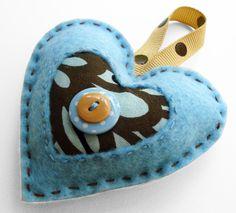 Felt Heart Ornament - Blue & Chocolate