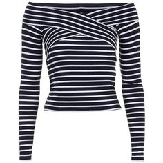 Topshop Stripe Off the Shoulder Top ($38) ❤ liked on Polyvore featuring tops, rayon tops, striped top, topshop, petite long sleeve tops and criss cross top