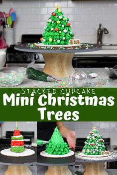 These festive mini Christmas tree cakes are super easy to make! Simply stack and frost two cupcakes on top of each other, and then add some sprinkles! Mini Christmas Cakes, Christmas Cake Designs, Easy Christmas Treats, Christmas Tree Cake, Simple Christmas, Small Desserts, Holiday Desserts, Cupcake Wreath, Tree Cakes