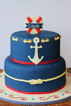 Nautical Birthday Cake @Liz Mester Mester Roscoe I tried to tag you in this but it was bringing up some other name. Thought of you when I saw this!