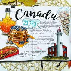 Creative Traveler: Art Journal Entry for Canada. Journal Art Drawing Traveling Memories and Ideas