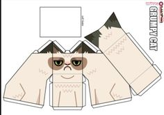 My friend showed this to me because I want my own Grumpy Cat. How I would do it is cut it out, glue it to thin card board and fold.