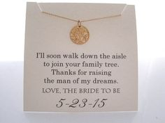 Mother of The Groom Necklace Mother of the by WearableWhispers How cute is this?!? I wish pinterest existed when I got married!