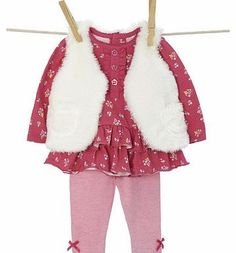 Bhs Girls Baby Girls Gilet, Top and Leggings Set, Mix and match our long sleeved floral top and leggings set with our new girls newborn range. Featuring faux fur gilet, frill detailing at the hem and ribbon detailing on the leggings.Top: 100% Cotton http://www.comparestoreprices.co.uk/baby-clothing/bhs-girls-baby-girls-gilet-top-and-leggings-set-.asp