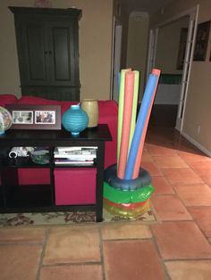 Use small tubes to hold together pool floats and add the theme through a room...bonus!