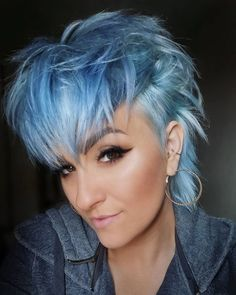 Short Blue Hair, Short Hair With Bangs, Short Hair With Layers, Hairstyles With Bangs, Short Hair Cuts, Short Punk Hair, Haircuts, Pale Blonde Hair, Pastel Blue Hair