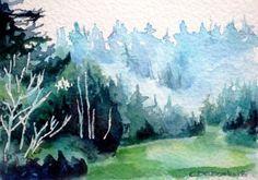 Trees Watercolour Landscape fine art giclee by christydekoning