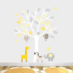 grey and yellow safari fabric wall stickers by littleprints | notonthehighstreet.com