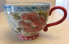 Dutch Wax Coffee, Tea Mug. Hand painted Ceramic. Beautiful Red Flower. New.