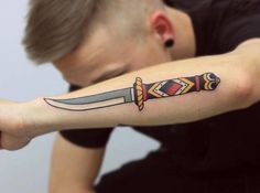 Traditional style knife tattoo on the forearm. Knife And Rose Tattoo, Knife Tattoo, Dagger Tattoo, Back Ear Tattoo, Girl Back Tattoos, Lower Back Tattoos, Swiss Army Pocket Knife, Best Pocket Knife, Knife Drawing