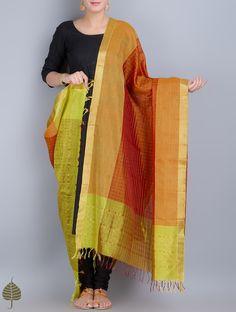 Rust-Gold Silk Cotton Dupatta with Zari Border by Jaypore on Jaypore.com
