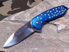Femme Fatale Spring Assisted Folding Knife Blue Rhinestone Ladies Purse 05BL