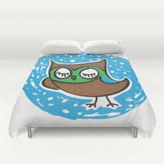 Here's a little owl duvet I designed ;-).  Owls are such fascinating creatures.  To me they always look so at peace and happy.  Hope you like my little sleepy owl design.  Art & Illustration © Sarah M Wall 2017.  You can also follow my art and Merlin, our Great Pyrenees puppy, over at my Instagram account:  http://instagram.com/TheArtofSarahMWall