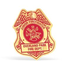 Firefighter Shield Paper Lapel Sticker On Roll - Economical lapel stickers on a roll, 6 materials/ 7 shapes to choose from. Convenient roll format. Papers: White gloss or white matte. Foil Papers: Shiny gold or silver & matte gold or silver.