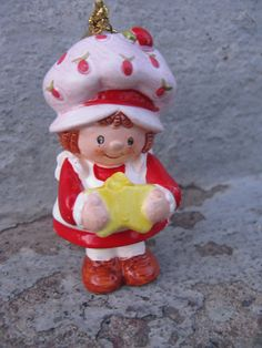 strawberry shortcake ceramic ornament 1980s by rivertownvintage