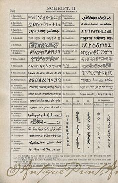 Script Handwritting Alphabets Eastern and Oriental Written Text Foriegn Languages 1923 2 Sided Print