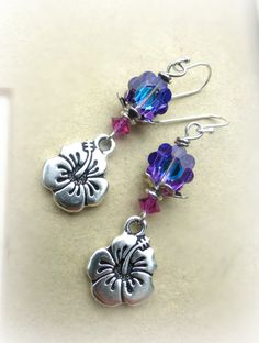 Purple, pink and blue crystal flowers, silver metal flower charms, sterling silver earrings. - Andria Bieber Designs, Earrings - Jewelry,  McKee Jewelry Designs - Andria Bieber Designs