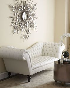 """Leala"" White Leather Sofa by Old Hickory Tannery at Horchow."