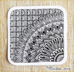 Zentangle tiles 9x9 cm_Zentangle pattern, tangle drawing zentangles, graphic, pattern, tangle, zenart, abstract, design, monochrome, blackandwhite, zentangle inspired, artdrawing, artnet, gelpen, artwork, Zentangle art_Viktoriya Crichton_Ukraine