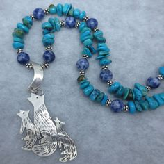 Arizona Turquoise Coyote Wolf Statement Necklace Sterling Silver