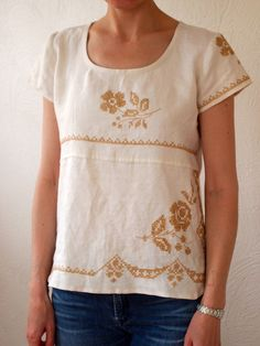 embroidered linen scraps shirt (tailored scout woven tee sample from grainline studio) - Refashion Clothes Crafts, Sewing Clothes, Vintage Textiles, Vintage Linen, Upcycled Vintage, Clothing Patterns, Sewing Patterns, Linens And Lace, Home Fashion