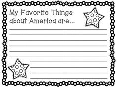 Celebrate America Writing Activities $2.25- Includes 3 prompts to get your students writing about America. Print in color, or in black and white and allow students to color in. Make a class book or a fun display!