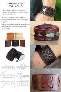 nice DIY - Restyle, Leather Cuffs See related items on Fanatic Leather Store. Diy Jewelry Unique, Old Jewelry, Jewelry Crafts, Handmade Jewelry, Bullet Jewelry, Metal Jewelry, Jewellery, Geek Jewelry, Gothic Jewelry