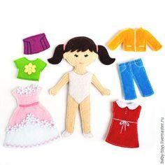 Купить Кукла Анюта с комплектом одежды. Развивающая игрушка из фетра (3+) - кукла ручной работы