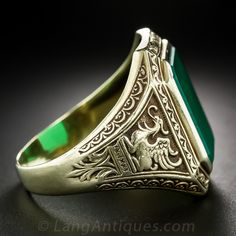 Gent's 14k and Chrysoprase Griffin Ring - 30-1-5592 - Lang Antiques