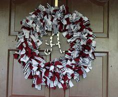 Alabama Rag Wreath... I want this for my door!!