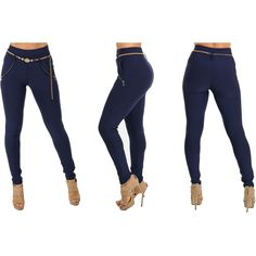 Women's ModaXpressOnline.com Stretchy High Waisted Skinny Pants with... ($16) ❤ liked on Polyvore featuring pants, blue, white skinny pants, white high waisted pants, high-waisted trousers, high-waist trousers and navy pants