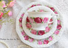 vintage tea sets   floral tea set  tea cup by VintageTeaTimeByNiw