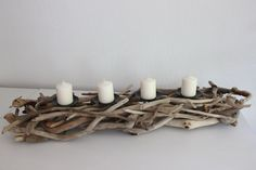 Kerzenhalter aus Treibholz Driftwood Projects, Driftwood Art, Wood Home Decor, Christmas Table Decorations, Seashell Crafts, Candle Sconces, Diy And Crafts, Candle Holders, Advent
