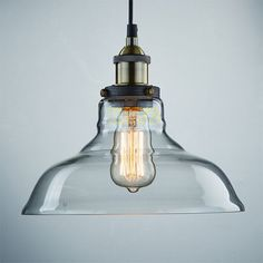 SET Vintage Industrial Ceiling Lamp Glass Pendant Loft Light + Edison Bulb Retro
