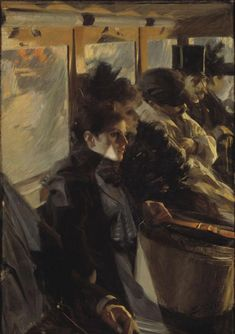 Anders Zorn (Swedish, Omnibus II, Oil on canvas 126 x 88 cm.The second version of Anders Zorn's 1892 Paris bus painting.(Source: The Art Ery ) © Gardner Museum Figure Painting, Painting & Drawing, Painting Tips, Gardner Museum, Post Impressionism, Traditional Paintings, Figurative Art, Monet, Oeuvre D'art