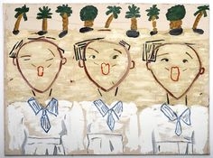 Korean Children Singing, 2013 Oil on canvas, 183 x 254 cm Rose Wylie, Museum Ludwig, Outsider Art, Cool Paintings, Contemporary Paintings, Lovers Art, Fiber Art, Oil On Canvas, Pop Art