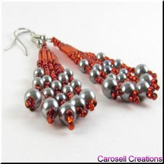 Baubles of Beads Seed Beaded Dangling Earrings TAGS - Jewelry, Earrings, Beaded, carosell creations, glass, seed beads, red, gray, grey, dangle, chandelier, pierced, accessories, pearl, bauble, holiday gift idea, belly dancer, gypsy, bohemien, hippie, boho, ladies, fashion, new, handmade, crafted, women, baubles, petite, small