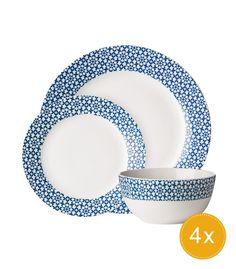 Perfect Diner | Premier Housewares Serviesset - 12-delig - blauw/wit
