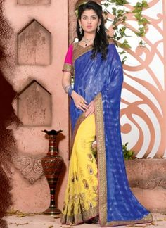 Blue Yellow Embroidery Work Georgette Jacquard Half  Designer Sarees  http://www.angelnx.com/featuredproduct