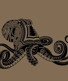 Octopus Tattoo. Love the abstract visual. Reminds me a bit of Native American or Peruvian Art.