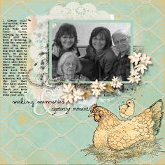 Layout by Sheila Rumney using Crafty Secrets Printable Chicken Farm Paper by  SheilaRumney.com: Making Memories