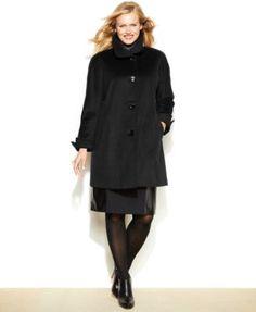 Ellen Tracy Plus Size Wool-Angora-Blend A-Line Walker Coat