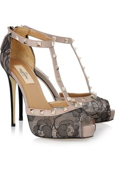 Studded leather and lace T-bar pumps by Valentino