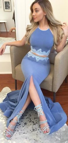 elegant two piece halter blue prom dress with lace appliques, bodycon mermaid blue evening dress with split