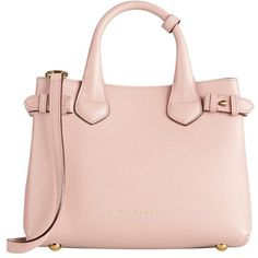 The Burberry Medium Banner in Leather and House Check (5.025 BRL) ❤ liked on Polyvore featuring bags, handbags, purses, burberry, accessories, bolsas, genuine leather handbags, pink handbags, pink hand bags and leather purses