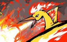 It's Moltres, one of the three Legendary birds of Kanto. It's the fiery Pokemon which is considered as the titan of fire in the Orange Islands. Fire Pokemon, Pokemon Manga, Pokemon Funny, Cool Pokemon, Mega Evolution Pokemon, Pokemon Stories, Deadpool Pikachu, Pokemon Crossover, Pokemon Fusion Art