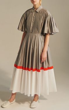 This **Vika Gazinskaya** Color Block Pintuck Maxi Dress features a pointed collar with a half button placket, pin tuck detail on bodice, and a pleated skirt.