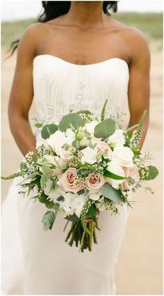 Bridal bouquet, waxflowers, dusty pink roses, eucalyptus leaves, beach wedding // L'amour Foto